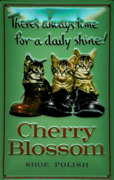 Blechschild Cherry Blossom Shoe polisher Schuhcreme Schuhpflege Schild retro Werbeschild Nostalgiesc