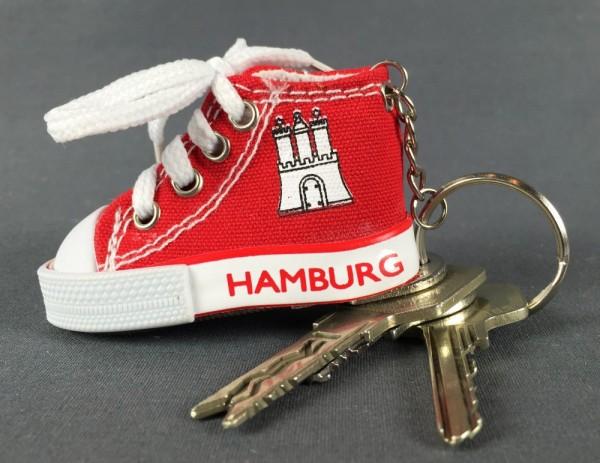 Hamburg Schlüsselanhänger Hamburger Sneaker Rot Schuh Mitbringsel Souvenir Deko
