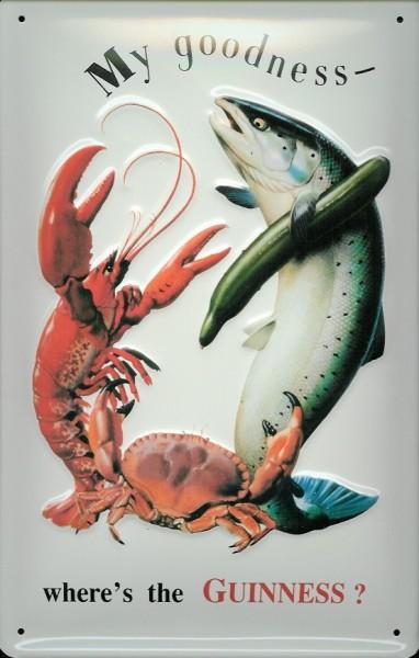 Blechschild Guinness Bier Fisch und Hummer Lobster retro Schild nostalgisches Werbeschild