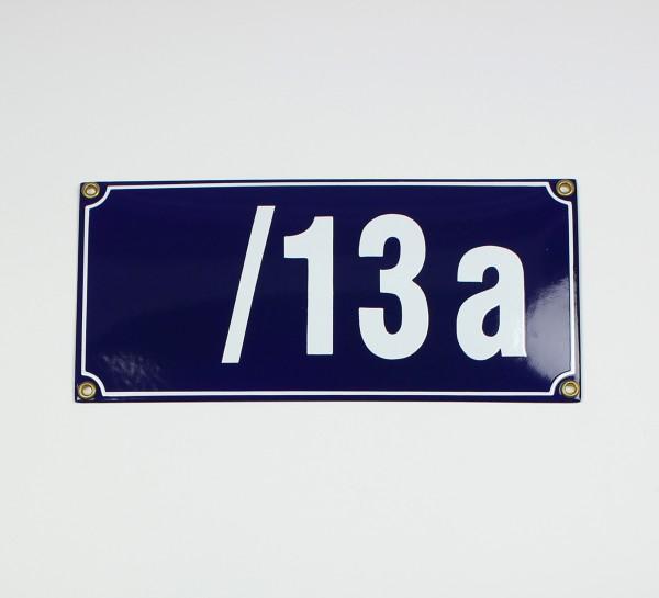 /13a blau Blockschrift 26x12 cm sofort lieferbar Schild Emaille 5-stellige Hausnumme