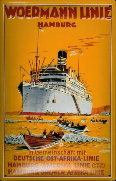 Blechschild Woermann Ostafrika Linie Dampfer Rettungsboote Reedereiplakat Schiff Schild Nostalgiesch