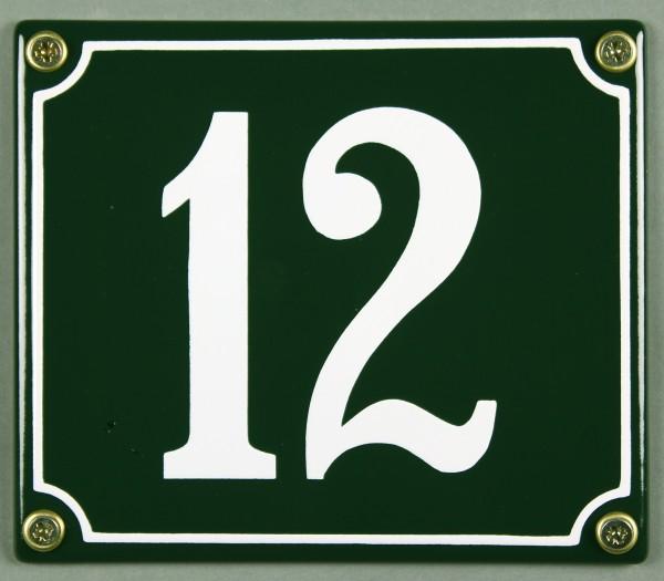 Hausnummernschild 12 grün 12x14 cm sofort lieferbar Schild Emaille Hausnummer Haus Nummer Zahl Ziffe
