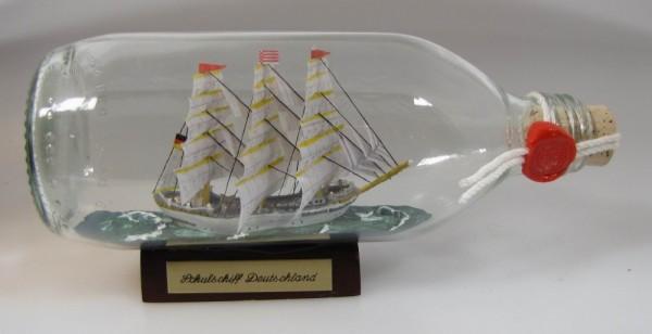 Schulschiff Deutschland runde Flasche 0,3 Liter Buddelschiff Flaschenschiff