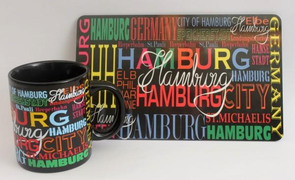 Hamburg Frühstücksset Becher + Brett bunt