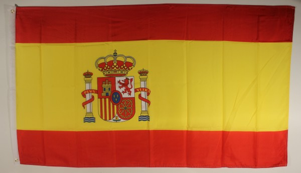 Flagge Fahne : Spanien mit Wappen Nationalflagge Nationalfahne