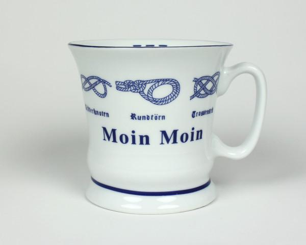 Moin Moin mit Seemannsknoten hoch Kaffeebecher Kaffeetasse Kaffee Pott