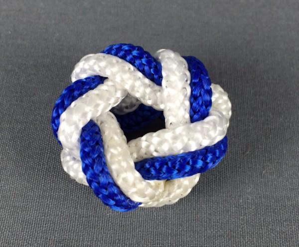 Makrameeknoten blau /weiss für Halstuch