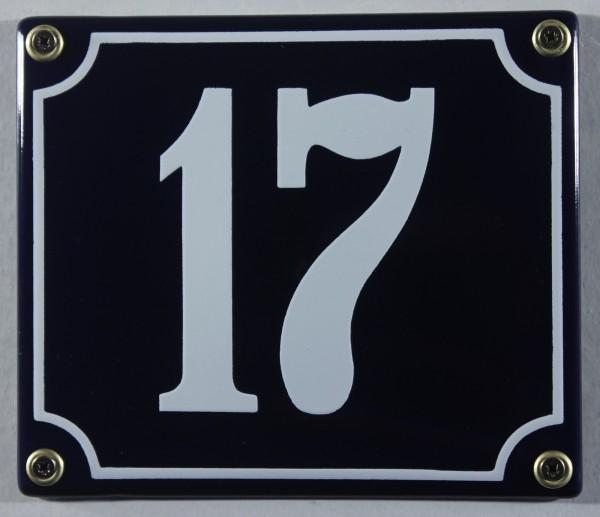 Hausnummernschild Emaille 17 blau - weiß 12x14 cm sofort lieferbar Schild Emaile Hausnummer Haus Num