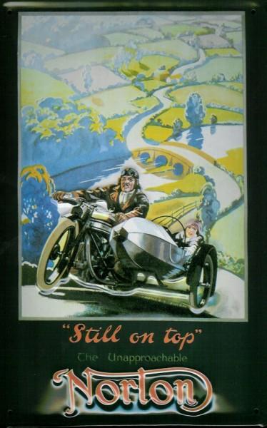 Blechschild Norton Motorrad mit Beiwagen Gespann Nostalgieschild