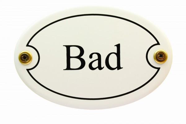 Emaille Türschild Bad weiß oval Emaille Toilettenschild Schild Emailleschild Metallschild Blechschil