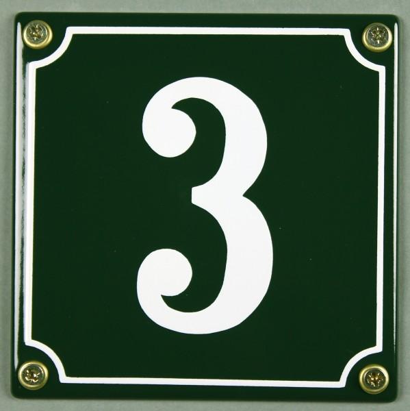 Hausnummernschild 3 grün 12x12 cm sofort lieferbar Schild Emaille Hausnummer Haus Nummer Zahl Ziffer