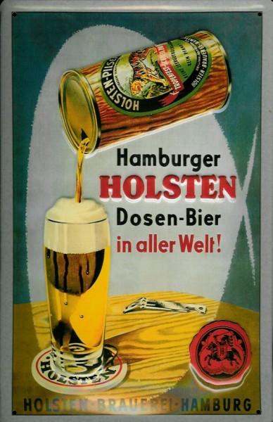 Blechschild Holsten Dosen Bier Hamburg Bierdose Brauerei Schild retro Nostalgieschild