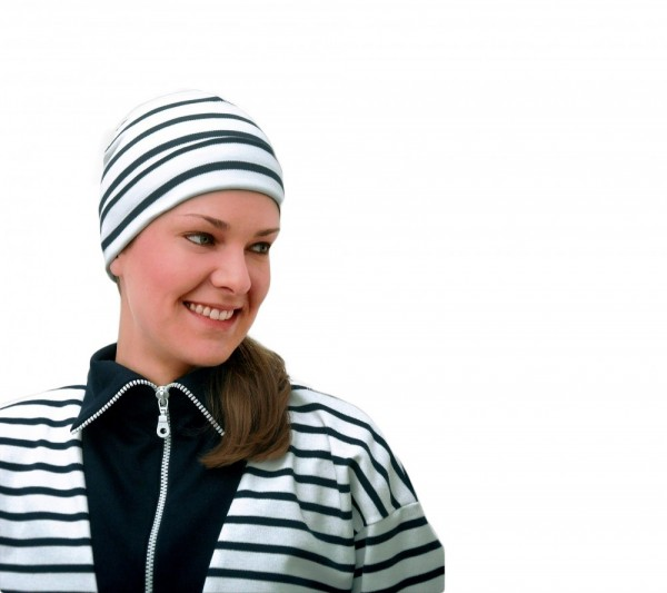 Bretonische Rollmütze klassisch innen und außen geringelt