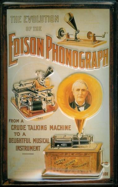 Blechschild Nostalgieschild The Edison Phonograph Evolution 3