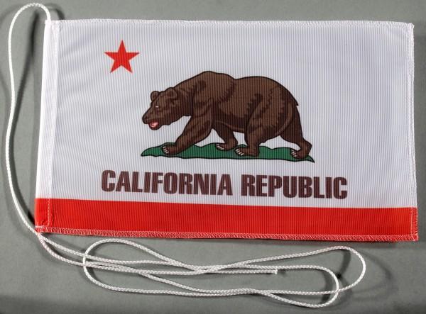 Tischflagge Kalifornien USA Bundesstaat US State 25x15 cm optional mit Holz- oder Chromständer Tisch