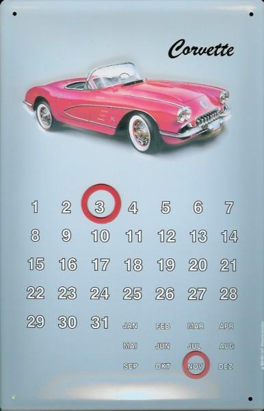 Blechschild Corvette Magnet Kalender Nostalgieschild Schild Dauerkalender