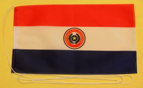Tischflagge Paraguay 25x15 cm optional mit Holz- oder Chromständer Tischfahne Tischfähnchen