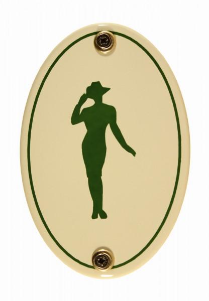 Emaille Türschild Piktogramm Damen WC Toilette Schild Kloschild