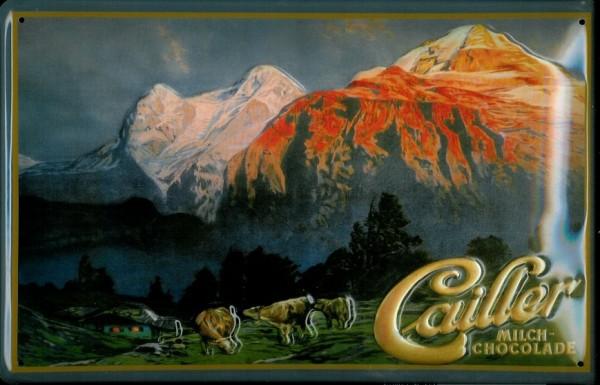 Blechschild Cailler Schokolade Berge retro Schild Dekoration