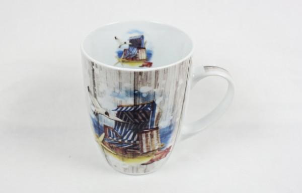 Maritimer Becher Strandkorb Möwe Tasse Kaffee Becher Andenken Ostsee Nordsee