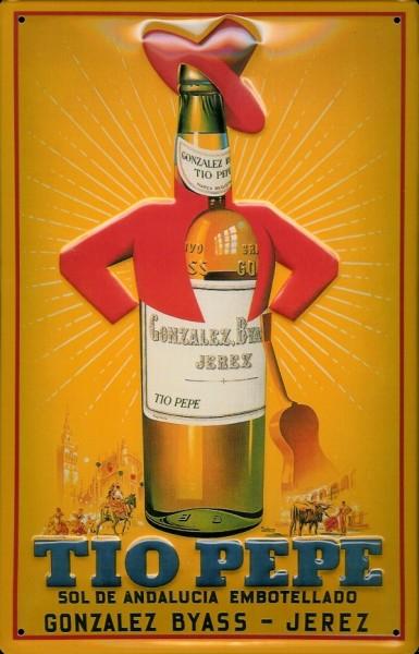 Blechschild Tio Pepe Flasche Gitarre Spanien retro Schild Nostalgieschild
