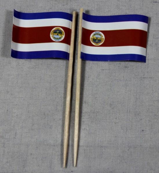 Party-Picker Flagge Costa Rica Papierfähnchen in Spitzenqualität 50 Stück Beutel