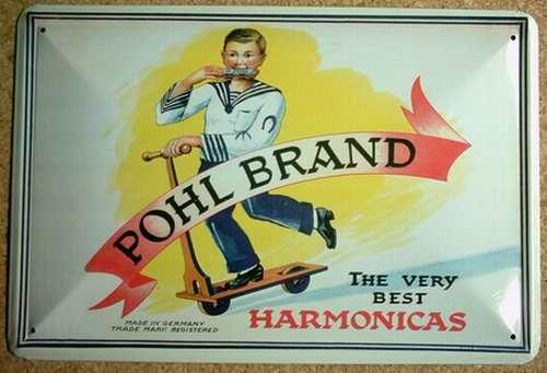 Blechschild Nostalgieschild : Harmonicas - Pohl Brand Mundharmonika