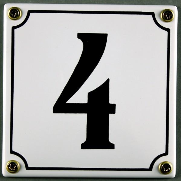 Hausnummernschild 4 weiß 12x12 cm sofort lieferbar Schild Emaille Hausnummer Haus Nummer Zahl Ziffer