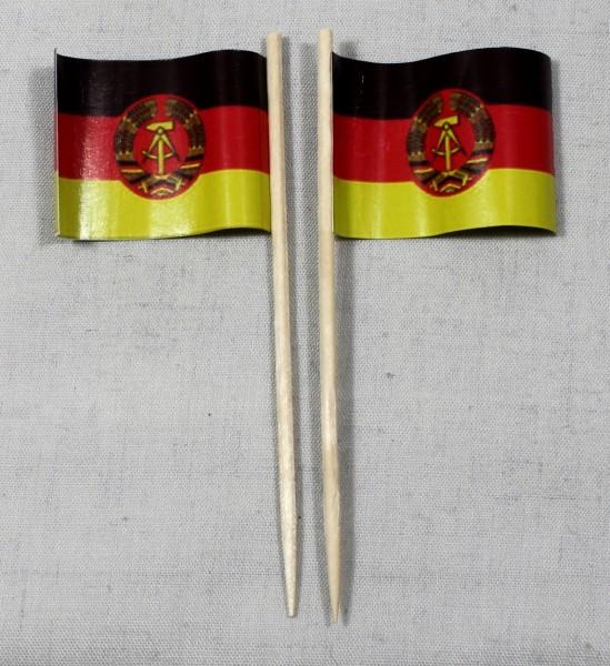 Party-Picker Flagge DDR Ostalgie Papierfähnchen in Spitzenqualität 50 Stück Beutel