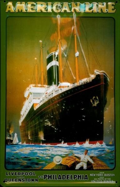 Blechschild American Line Kreuzfahrt Dampfer Liverpool to Philadelphia Schiff Schild Nostalgieschild