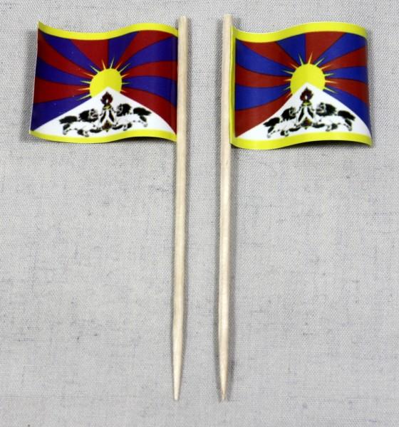 Party-Picker Flagge Tibet Papierfähnchen in Spitzenqualität 50 Stück Beutel
