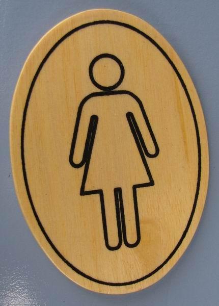 Ovales Holz - Türschild Damen Toilette Piktogramm 7x10 cm helles Holzschild