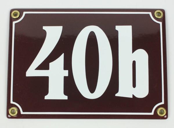 40b braun Clarendon 12x18 cm sofort lieferbar Schild Emaille Hausnummer
