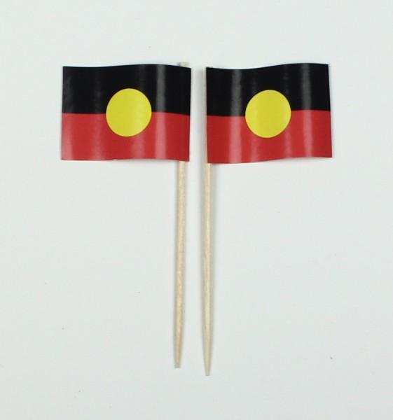Party-Picker Flagge Aborigines Australien Papierfähnchen in Spitzenqualität 50 Stück Beutel