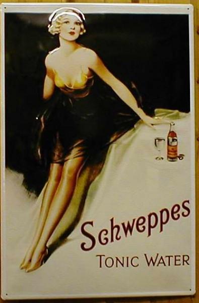 Blechschild Schweppes Tonic Water retro Schild Nostalgieschild Werbeschild