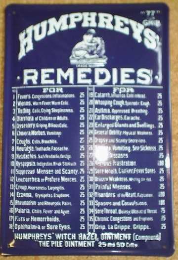 Blechschild Humphrey`s Remedies Spruch Gedicht Schild Metallschild Nostalgieschild