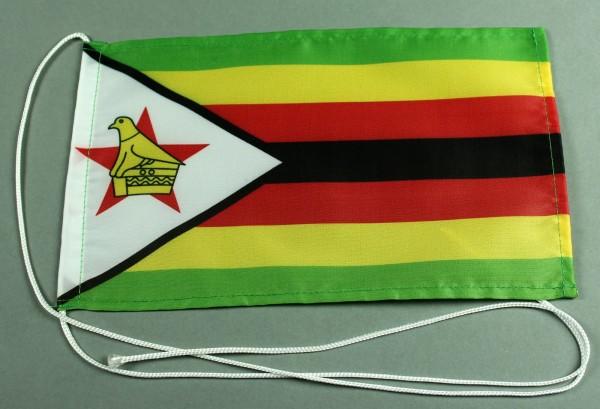 Tischflagge Simbabwe 25x15 cm optional mit Holz- oder Chromständer Tischfahne Tischfähnchen