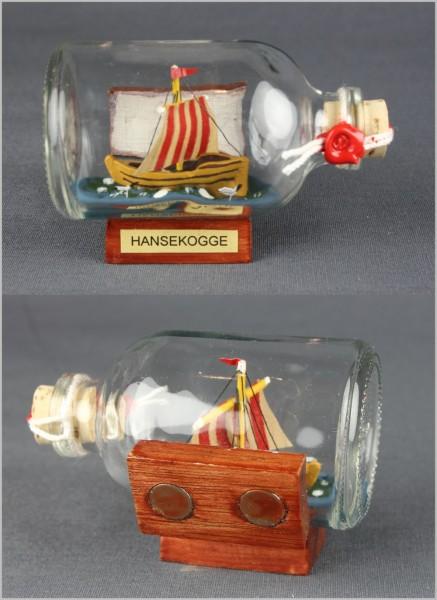 Buddelschiff Hansekogge 7,2x4,5 cm Kühlschrankmagnet mit 2 Stück 10x3 mm Neodym Magnet Souvenir