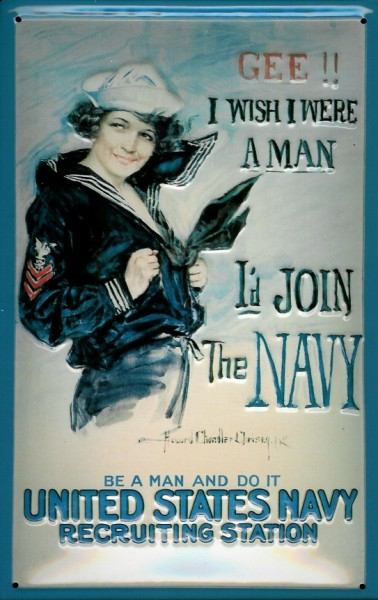 Blechschild Nostalgieschild : I`d Join The United States Navy