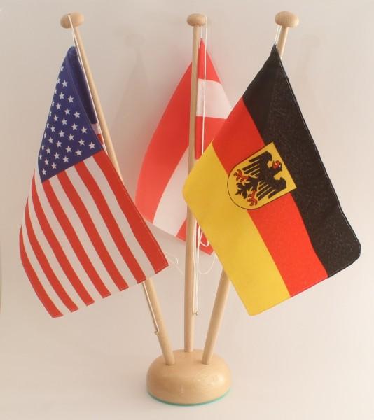 Tischflaggenständer Holz 3-fach Höhe 42 cm für 15x25 cm Tischflaggen Tischfahne Tischfähnchen