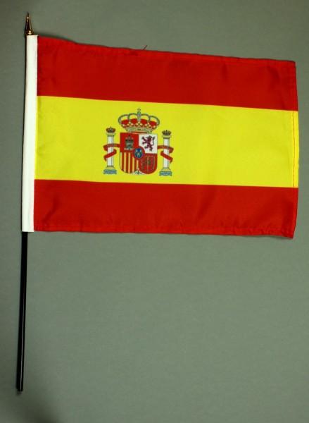 Tischflagge Spanien 20x30 cm optional mit Tischflaggenständer aus Mahagoni Holz