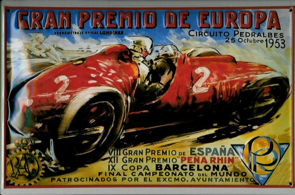 Blechschild Gran Premio Autorennen Barcelona Schild Nostalgieschild