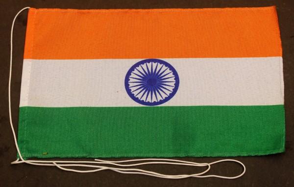 Tischflagge Indien 25x15 cm optional mit Holz- oder Chromständer Tischfahne Tischfähnchen