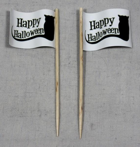 Party-Picker Flagge Happy Halloween Katze Papierfähnchen in Spitzenqualität 50 Stück Beutel