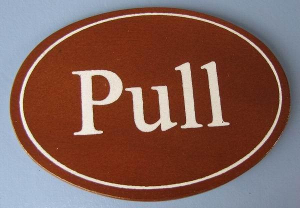 Ovales Holz - Türschild Pull 7x10 cm dunkles Holzschild