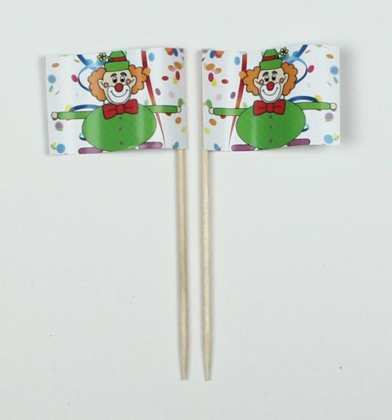 Party-Picker Flagge Clown 2 Karneval Fastnacht Fasching Papierfähnchen in Spitzenqualität 50 Stück B