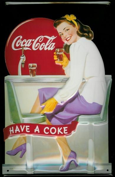 Blechschild Coca Cola Diner Girl nostalgisches Werbeschild retro Schild
