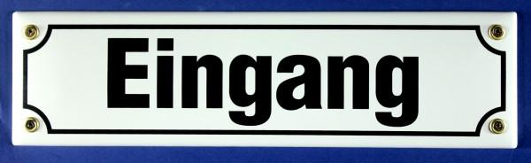 Strassenschild Eingang weiß 30x8 cm Emaille Schild Emaile Hinweisschild Türschild