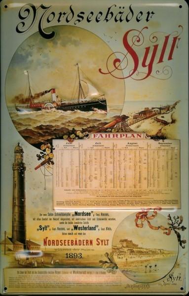 Blechschild Sylt Fahrplan Leuchtturm Dampfer Reedereiplakat Schiff Schild Nostalgieschild