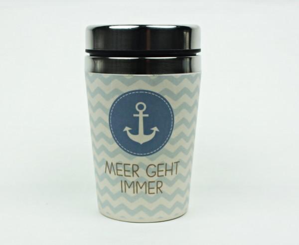 Maritimer Thermo Becher Meer geht immer Anker Kaffee Becher to go Thermobecher